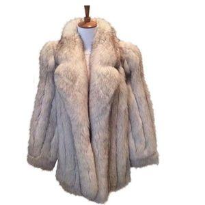 Saga Furs White/Light Gray Fox Stroller Coat